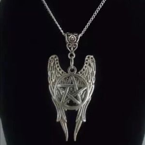 Jewelry - 925 Angel Wings Pentagram Necklace